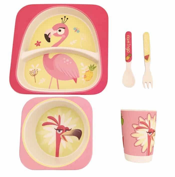 bamboo_fibre_children_dinner_set_flamingo_1