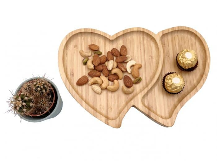 Bamboo Serving Platter, Double Heart