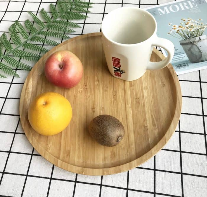 Bamboo Round Serving Tray, 30cm Large Round Platter