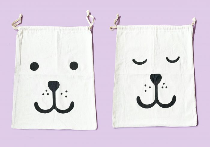 Pack of 2 Large Laundry Bags with String Ziplock (60 x 45cm), Dual Washable Heavy Duty Drawstring Cotton Bags