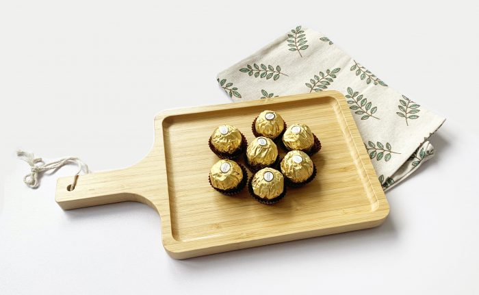 Bamboo Wooden Serving Board for Cheese Platters Tapas Dishes – Food Serving Tray with Handle