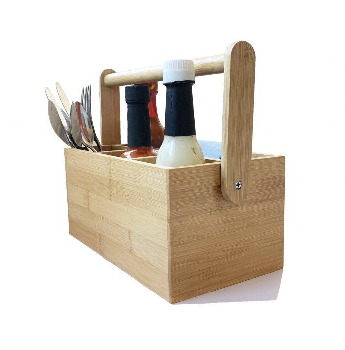 Natural Bamboo Wooden Utensil Holder Kitchen Caddy Organiser